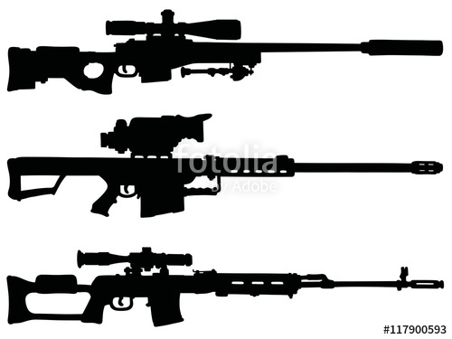 Drawn snipers hand gun Sniper vector / rifles Three