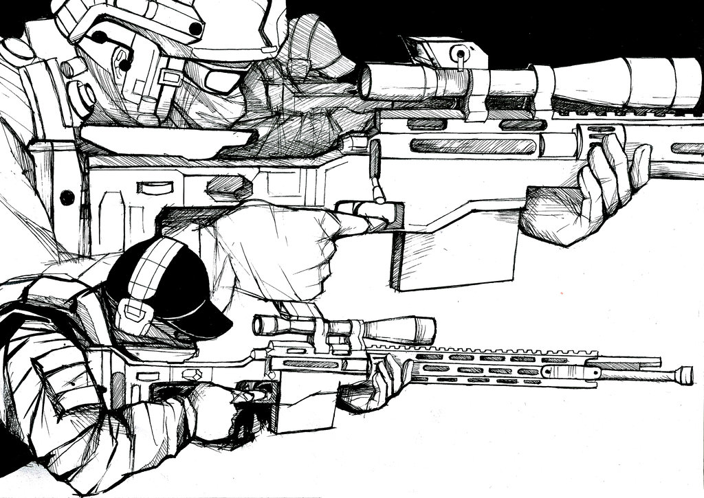 Drawn snipers prone Lineart and on favourites army