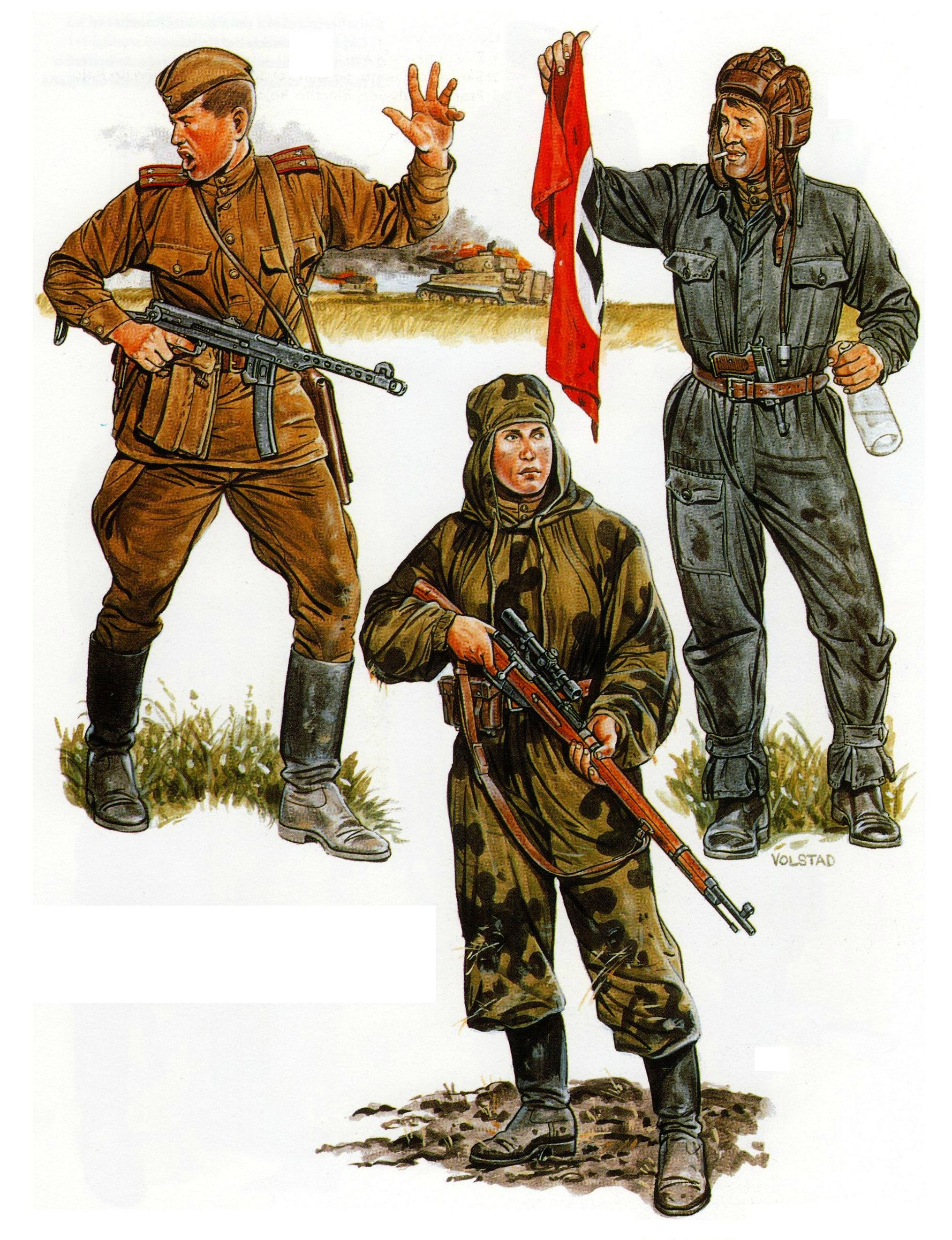 Drawn snipers red army 1943: Kursk and sniper sniper