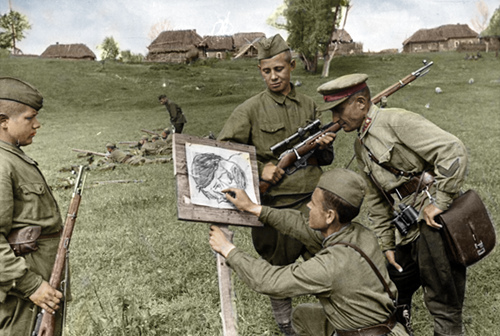 Drawn snipers red army WWII Army  sniper's Army