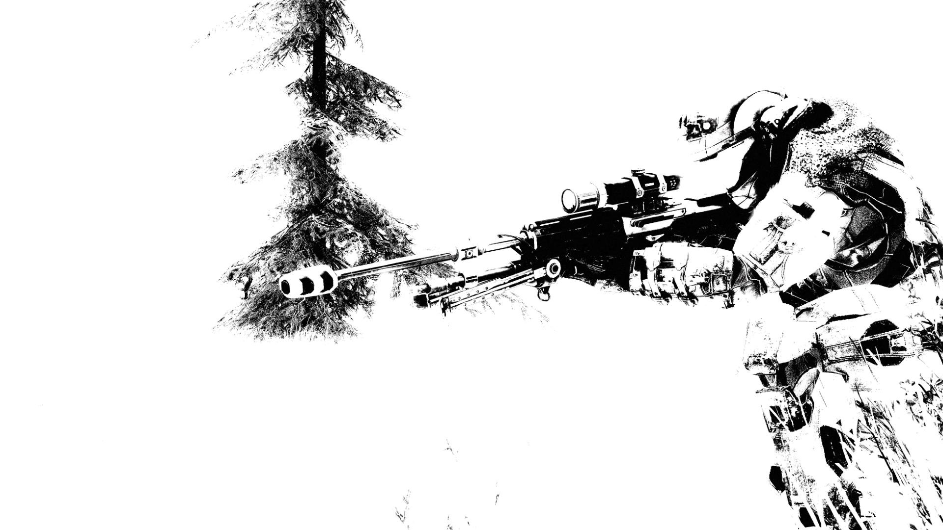 Drawn snipers wallpaper WallpaperUP trees sniper Snow 251493