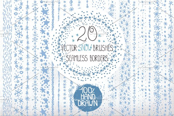 Drawn snow Snow drawn Brushes Creative borders