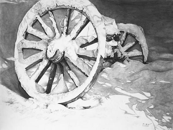 Drawn snow graphite On of Eve a wheel