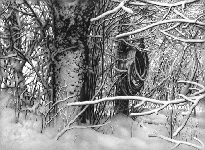 Drawn snow sun Drawings best Landscape landscapes Pencil