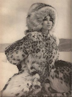 Drawn snow leopard fur Women Snow leopard material! fur
