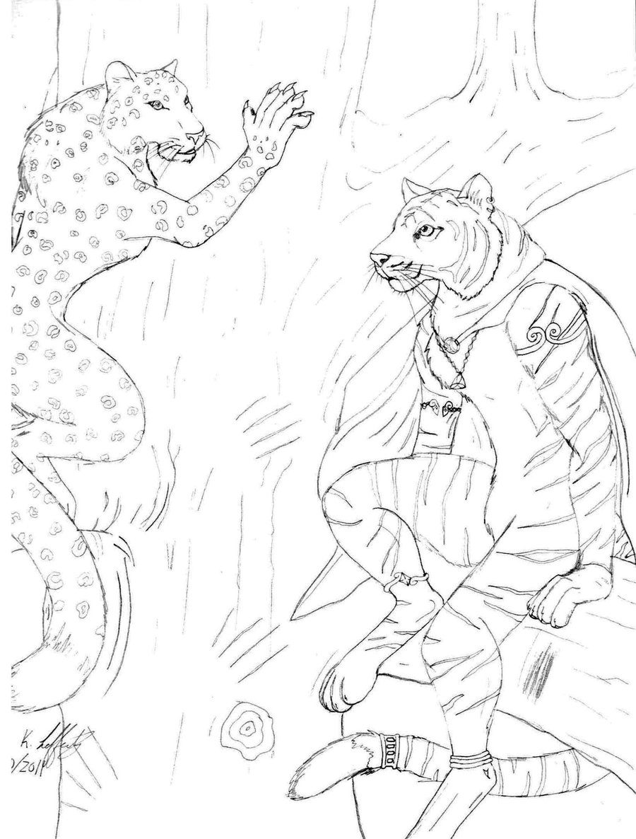 Drawn snow leopard furry  tiger tiger and snow
