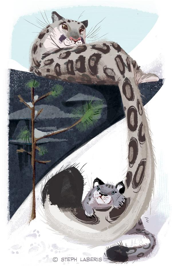 Drawn snow leopard furry Snow by by Steph Laberis