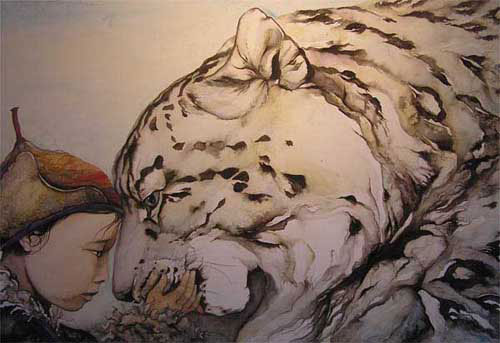 Drawn snow leopard ice Mountains Snow finish the there
