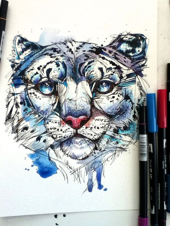 Drawn snow leopard ice 8x10 Original and by Snow