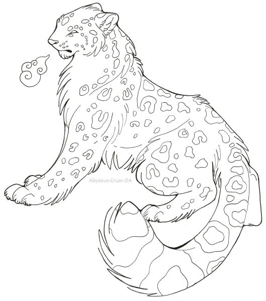 Drawn snow leopard snow tiger By step snow Step on