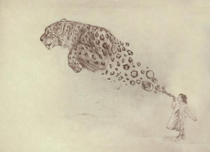 Drawn snow leopard tree drawing To things  drawings Google