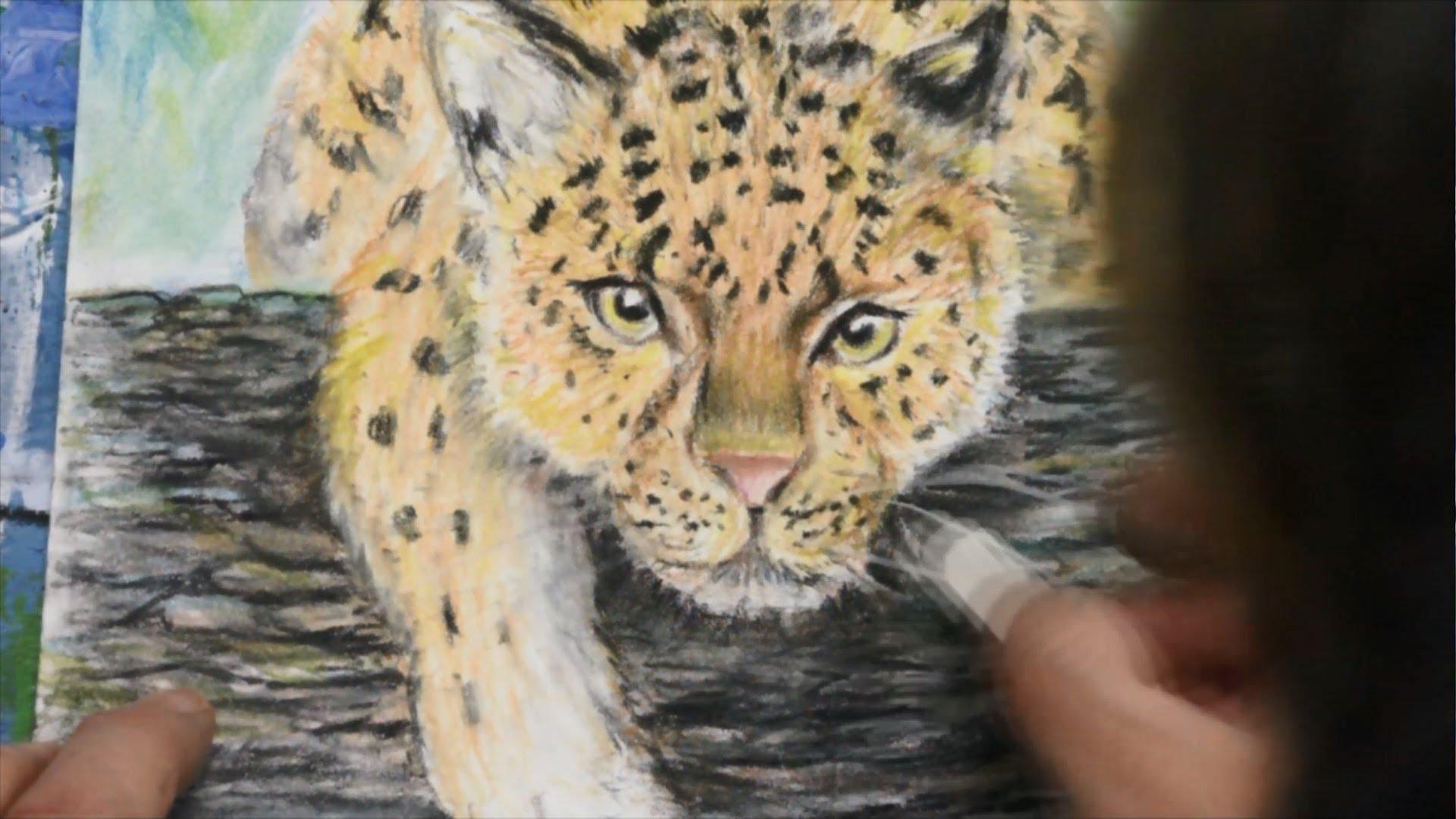 Drawn snow leopard tree drawing Pastel Tree The Leopard Tree