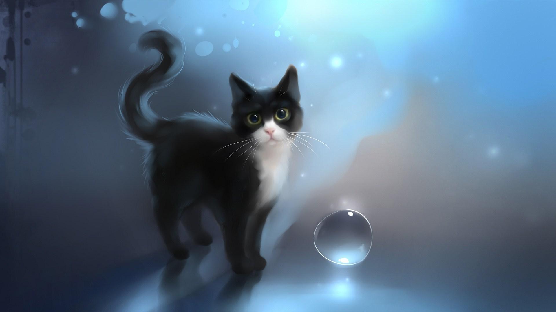 Drawn snow walpaper #6963595 Black Cat Art Drawn