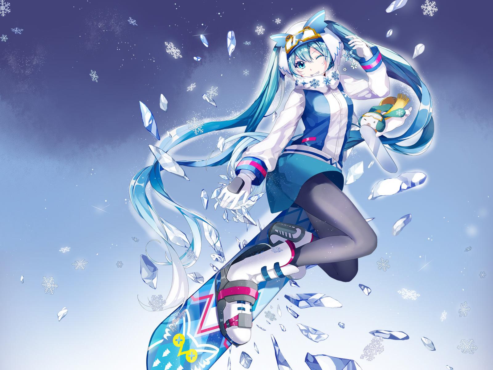 Drawn snow walpaper : Vocaloid http://snowmiku com/2016/images/top1 Snow