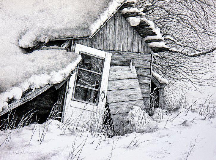 Drawn snowfall Pencil Pen and Drawings on