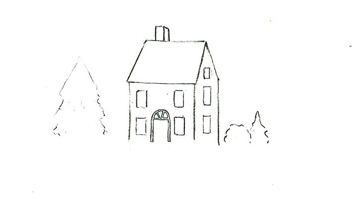 Drawn snowfall snowy Draw house Preparing on Snow