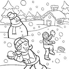 Drawn snowfall winter In Coloring Playing Coloring Pages