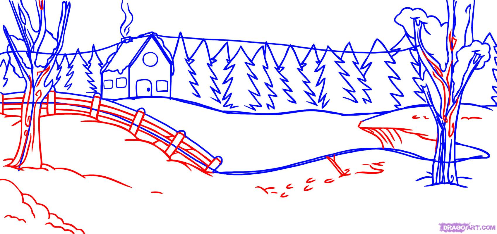 Drawn snowfall winter Other  a scene to