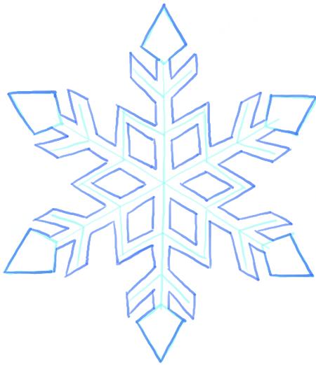 Drawn snowflake Step Tutorial Draw  snowflakes