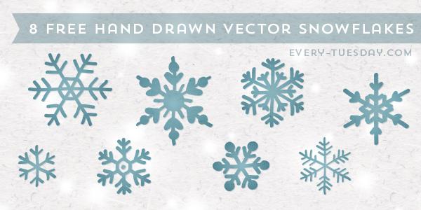 Drawn snowflake Drawn 8 Vector Snowflakes Hand