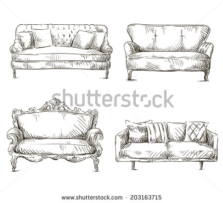 Drawn couch Drawing of vector Sofa Sofa