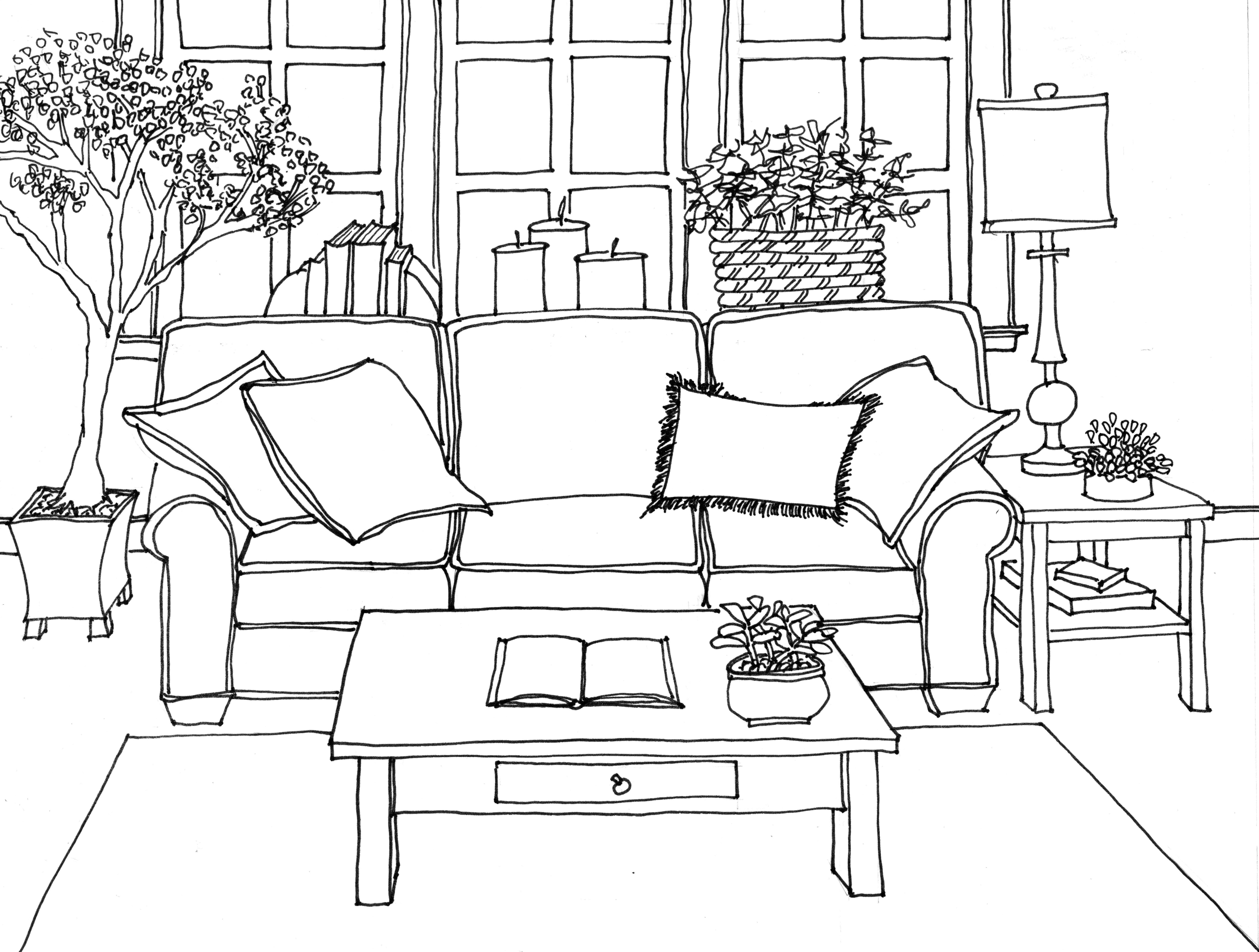 Drawn sofa Drawing Sofa + 1 Perspective