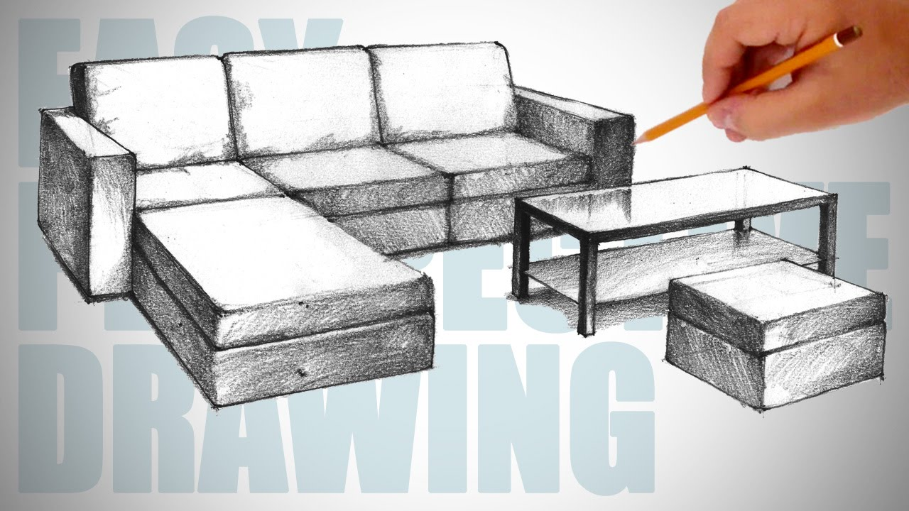Drawn sofa architectural drawing Drawing draw furniture Perspective How