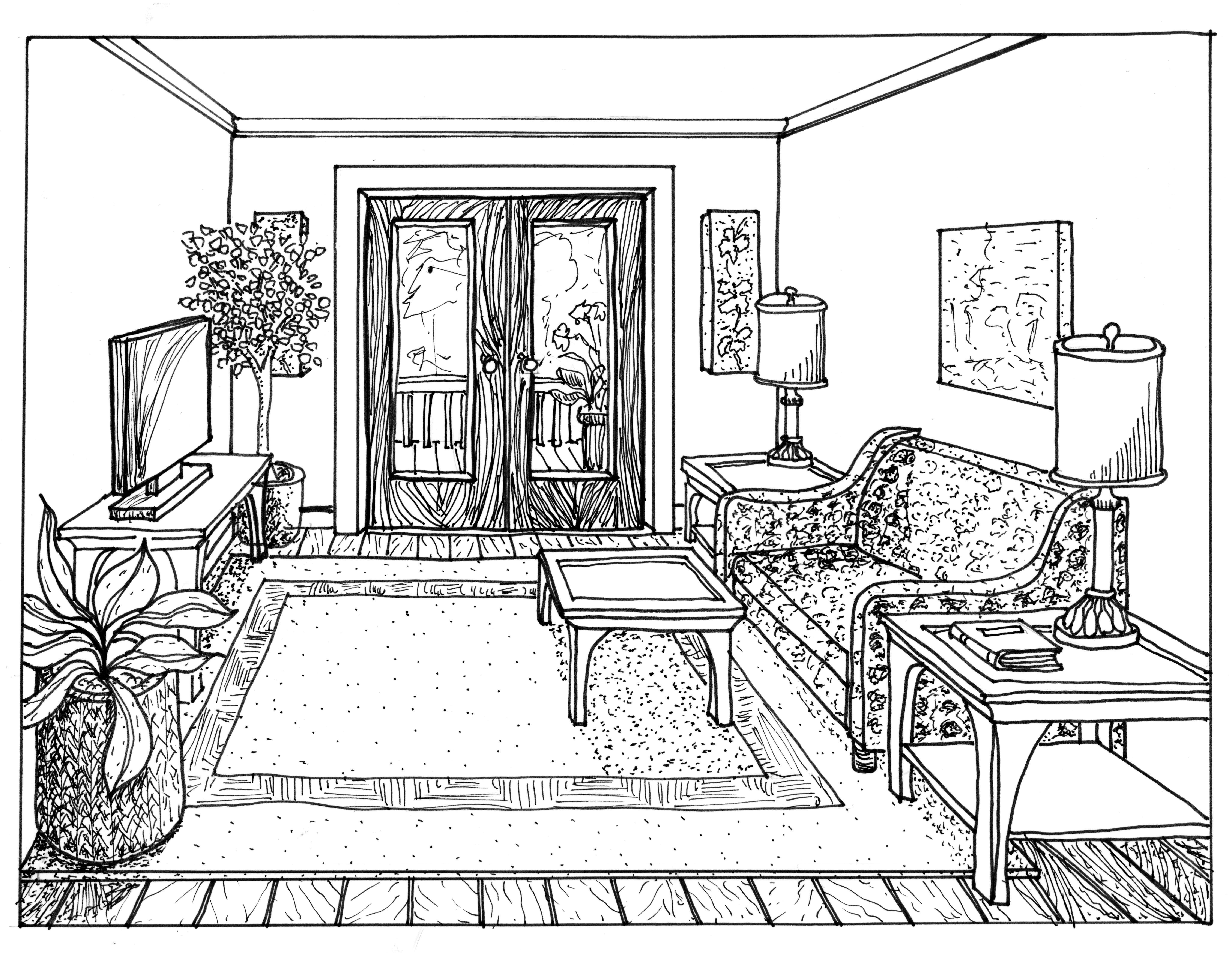 Drawn sofa architectural drawing Drawing A One Interior 1