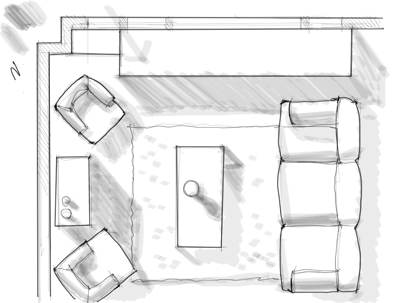 Drawn sofa architectural drawing Plan a Interior to floor