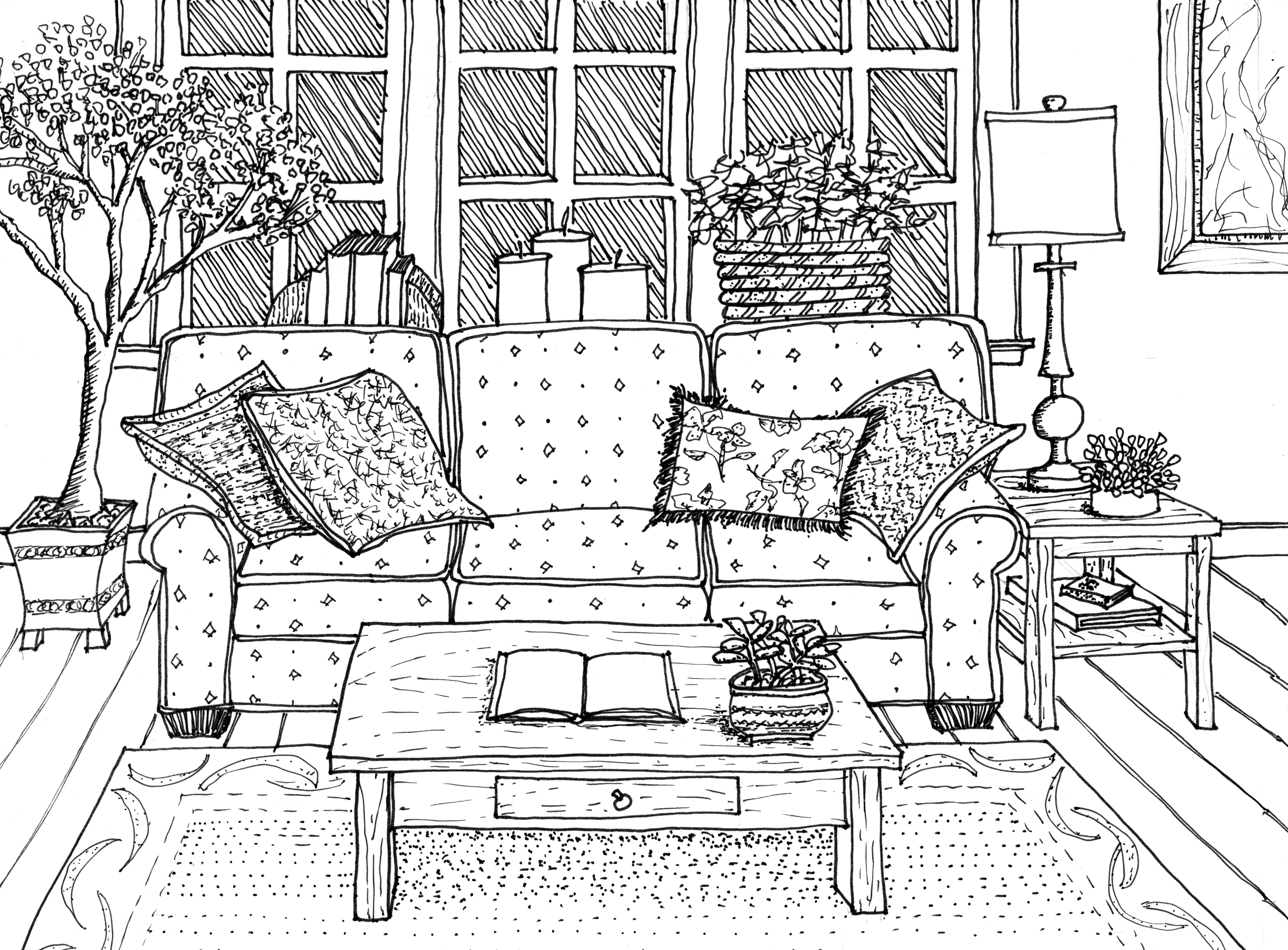 Drawn sofa architectural drawing Rendering Interiors Hand texture +