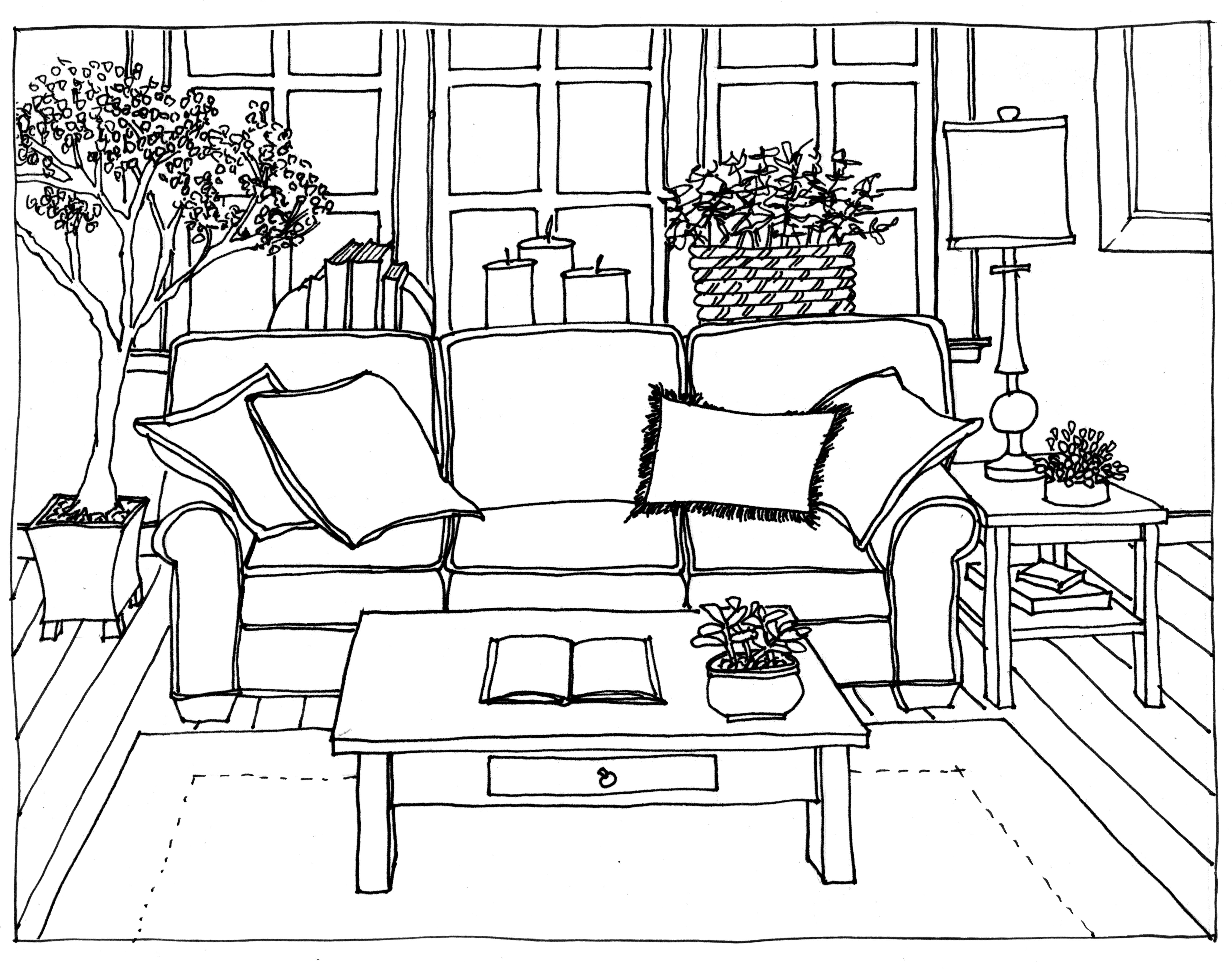 Drawn sofa architectural drawing Sofa Rendering 2 Rendering Stairs