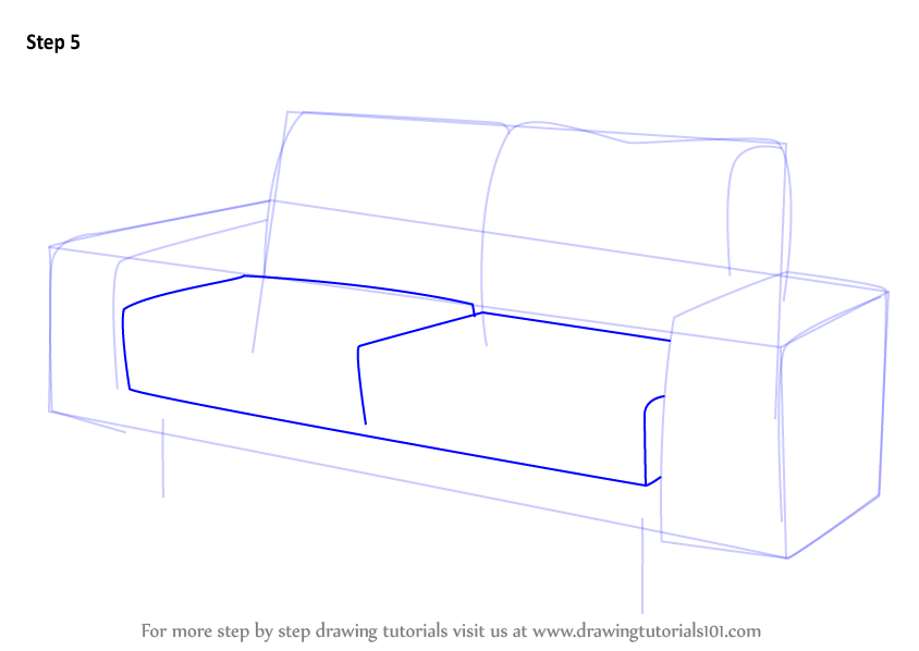 Drawn sofa cartoon (Furniture) How Couch Drawing Step