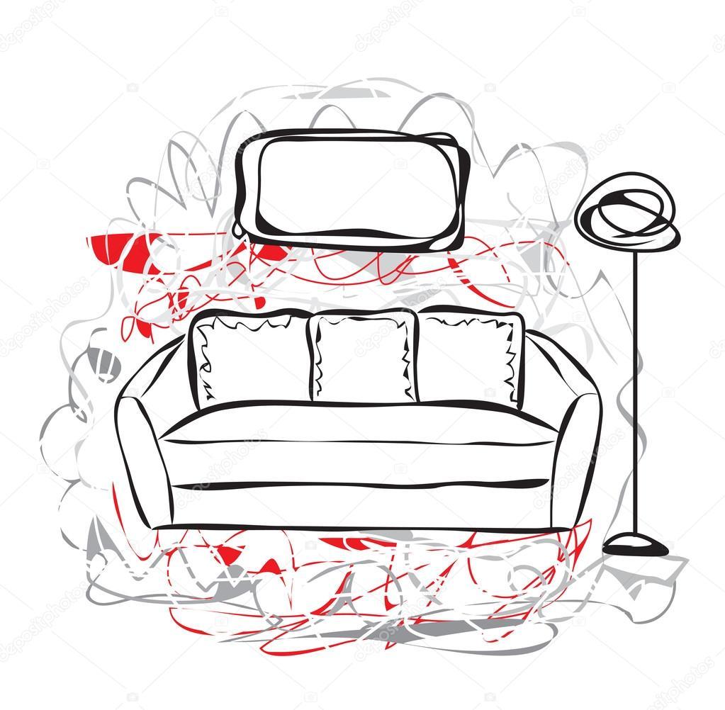 Drawn sofa Stock — Yuliia25 Hand Vector