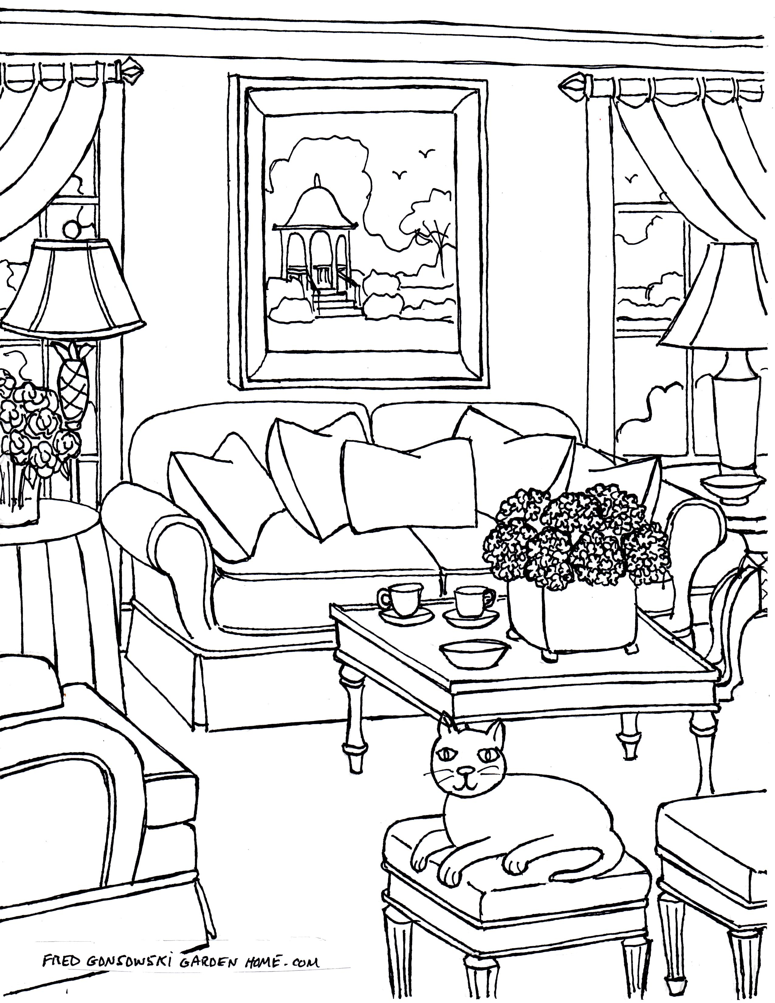 Drawn chair coloring page Living Some print Living Drawings