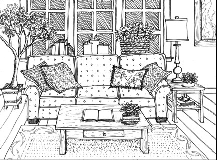 Drawn sofa couch Drawing Boarder Furniture Drawing Hand