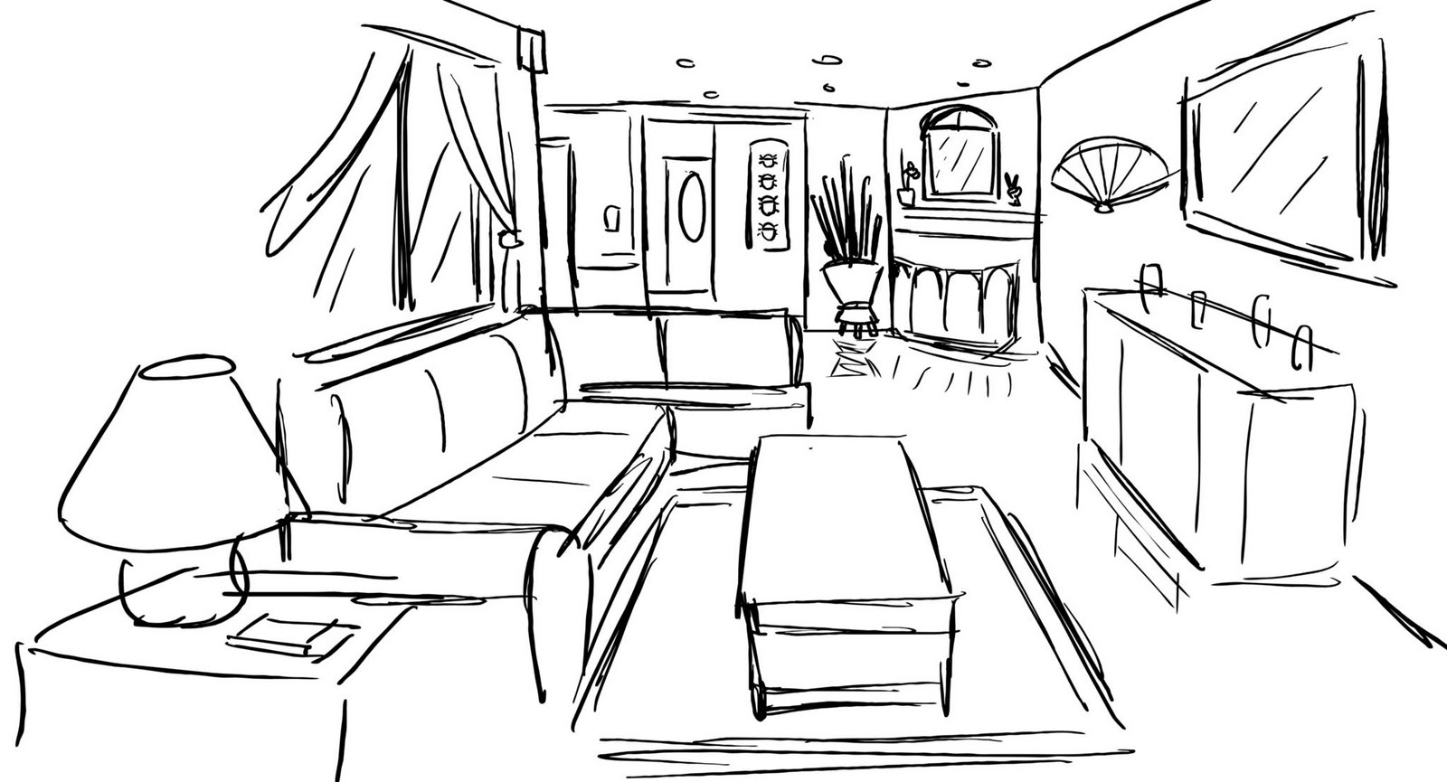 Drawn hosue inside Interior Easy  In Design