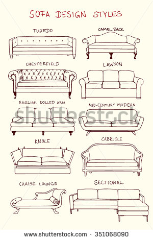 Drawn sofa made Set Hand drawn design guide