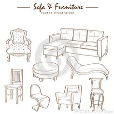 Drawn sofa made Set of Sofa sketch drawings