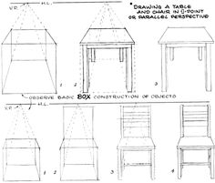 Drawn table 04 two perspective boxes of