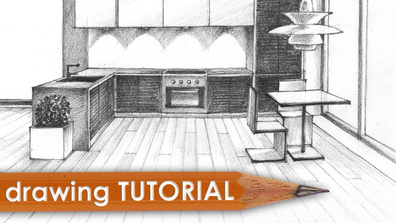 Drawn room kitchen room Room point Drawing (kitchen) perspective