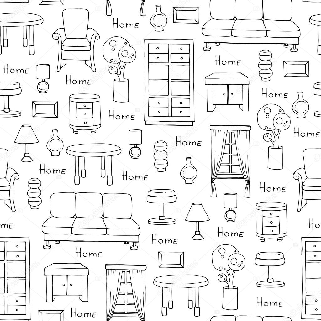 Drawn sofa pattern Pattern color on — white