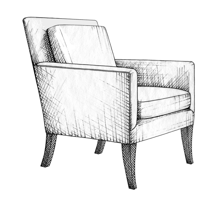 Drawn sofa pattern Of Chair Bauer 121 on