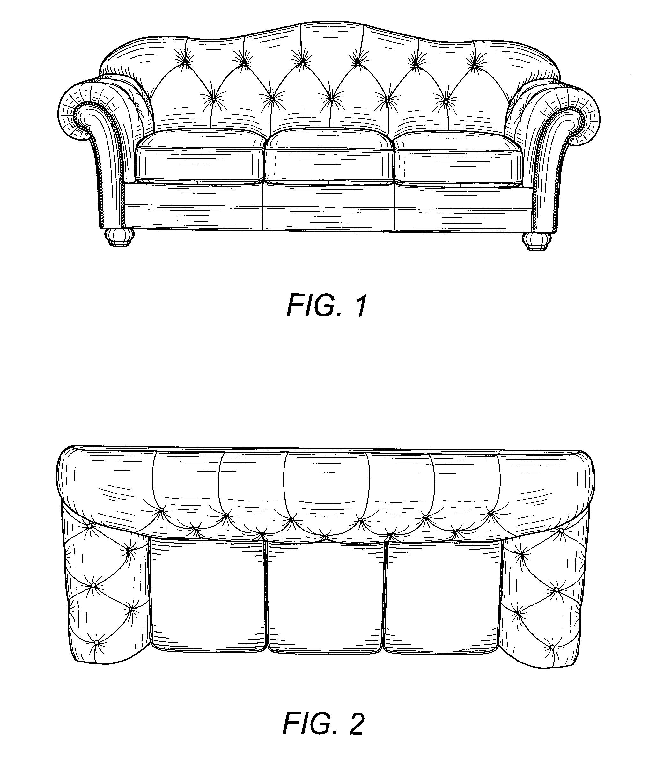 Drawn sofa plan elevation Patents Sofa Of Usd520773 Patent