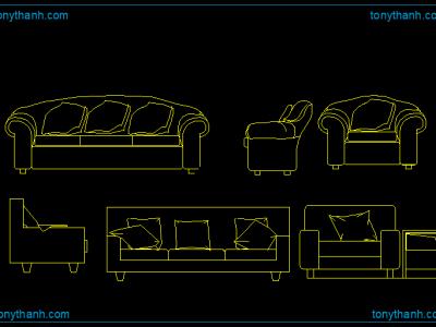 Drawn sofa plan elevation Drawing  Block AutoCAD Cad