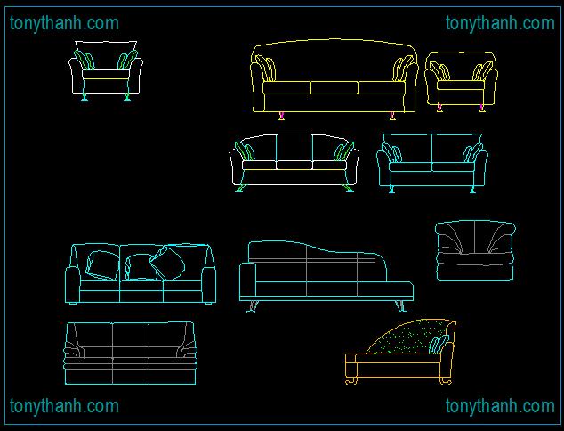 Drawn sofa plan elevation Block  autocad block block