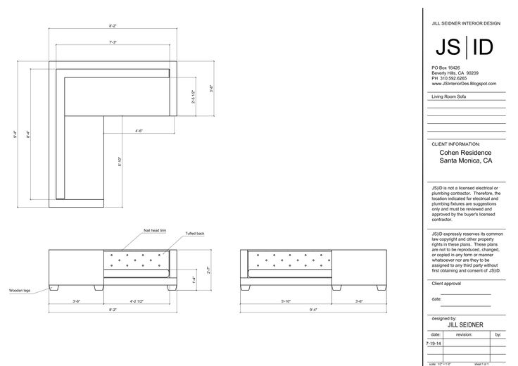 Drawn sofa plan elevation Custom Monica & Custom Seidner
