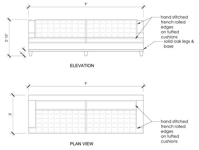 Drawn sofa plan elevation AutoCAD Sofa Tufted Foster Cranz