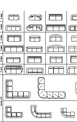 Drawn sofa plan elevation Furnitures dwg thousand plan armchairs