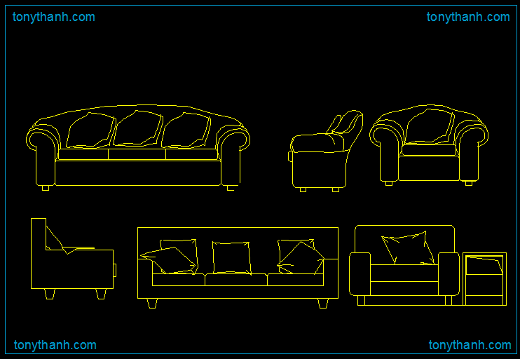 Drawn sofa plan elevation Drawing  block chair cad