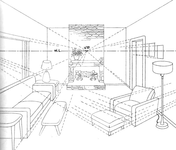 Drawn room vanishing point Perspective Lamps Living How Chair